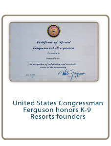 United States Congressman Ferguson honors K-9 Resorts founders
